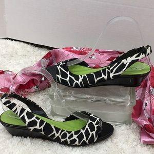 Chinese Laundry zebra slingback wedge